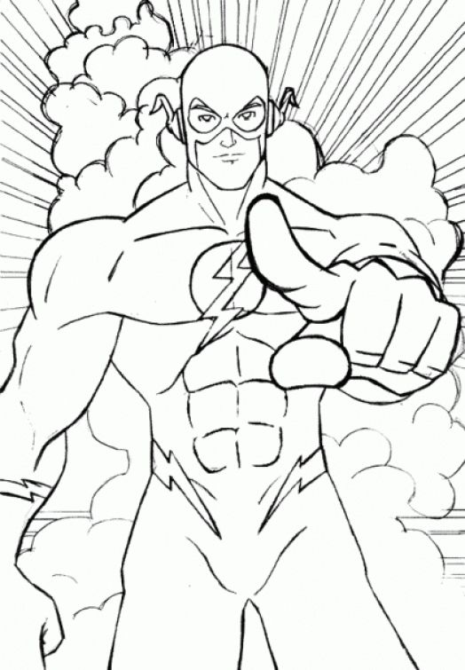Free The Flash coloring printable pages for kids Superheroes