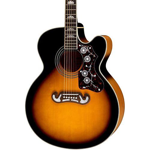 Epiphone Ej 200sce Acoustic Electric Guitar Vintage Sunburst Epiphone Guitar Guitar For Beginners
