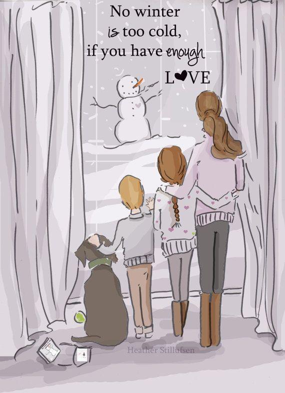 Enough LOVE  Family Wall Art Print Winter by RoseHillDesignStudio