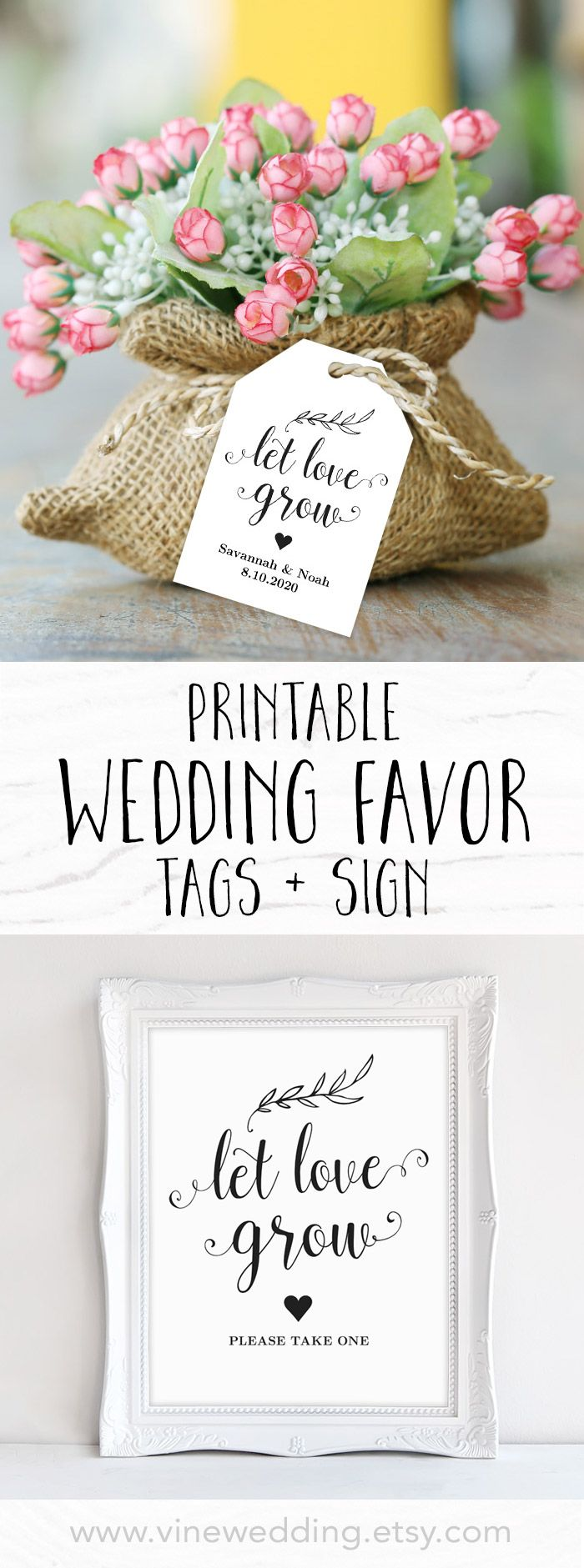 Let Love Grow Favor Tags, Printable Wedding Favor Tags Template ...