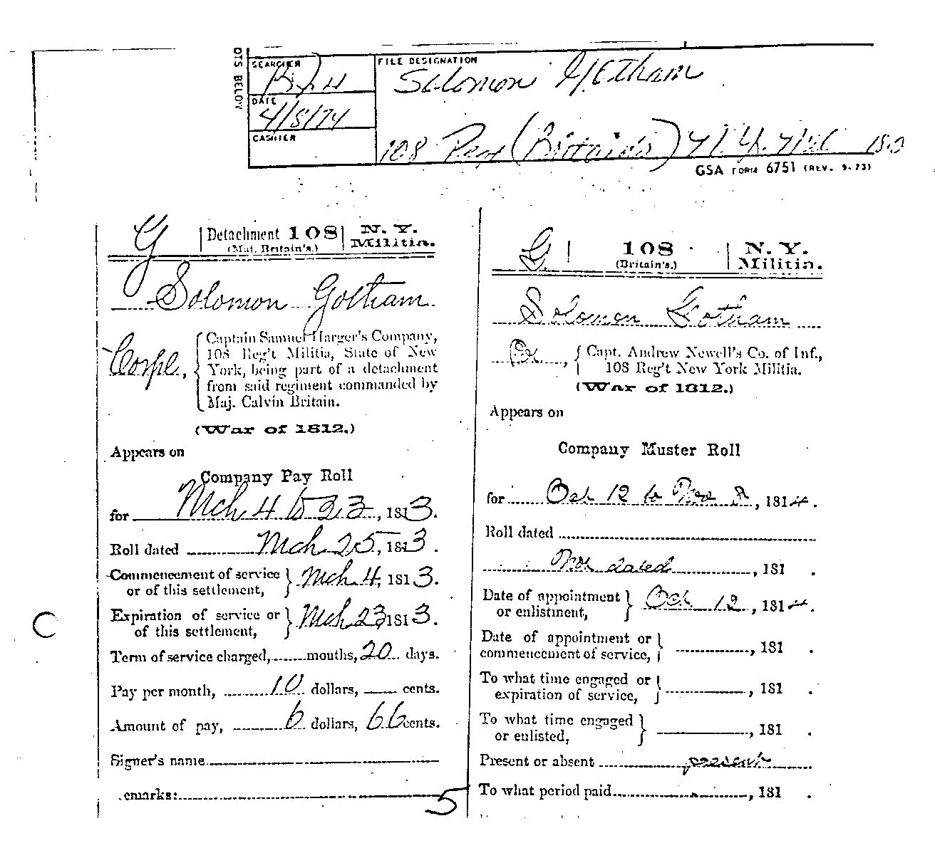 Military Record From The War Of American History