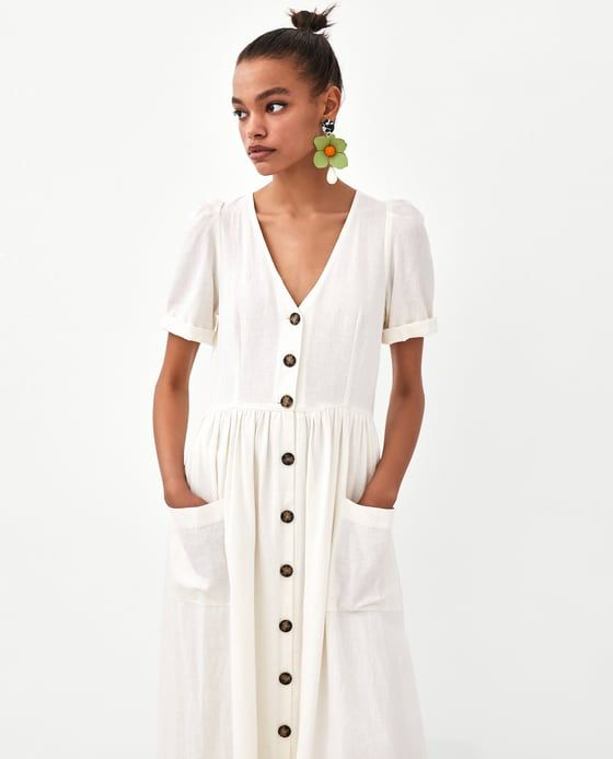 b0c3eef724 Image 2 of MIDI DRESS WITH BUTTONS from Zara