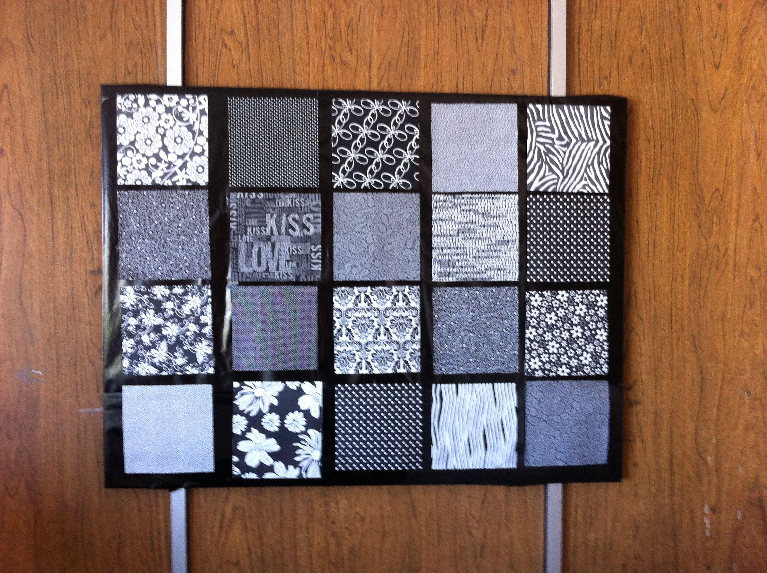 pizarrón de corcho forrado con black and White patterns | paper work ...