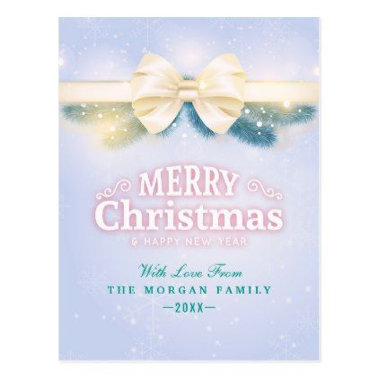 Blue Gold Ribbon Merry Christmas New Year Greeting Postcard - merry ...