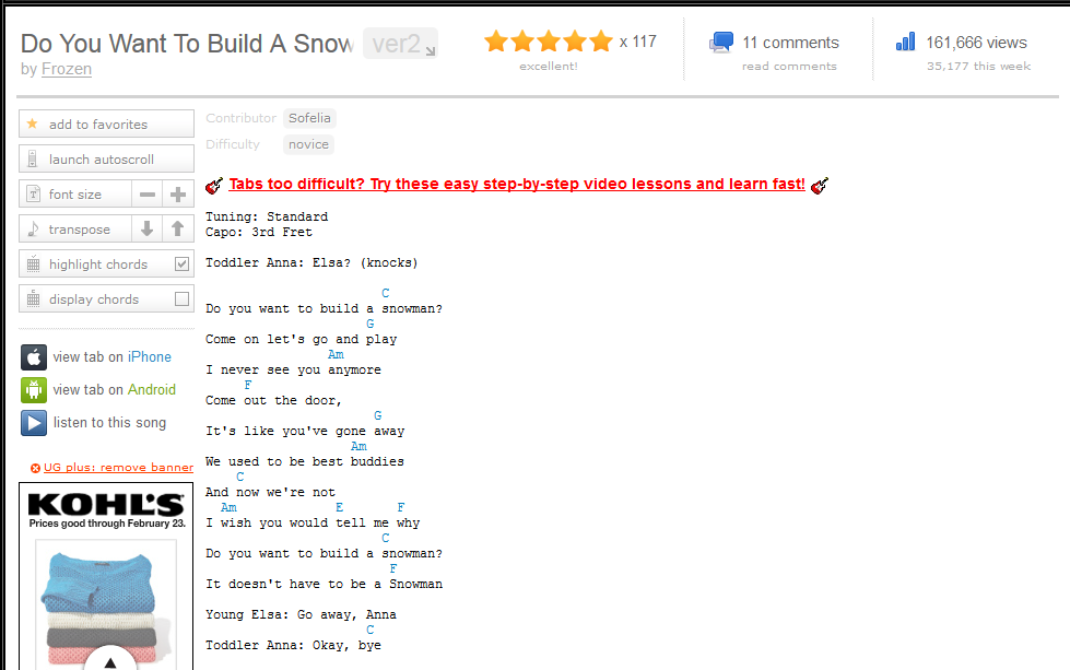 Do You Wanna Build A Snowman Frozen Chords Ultimate Guitar