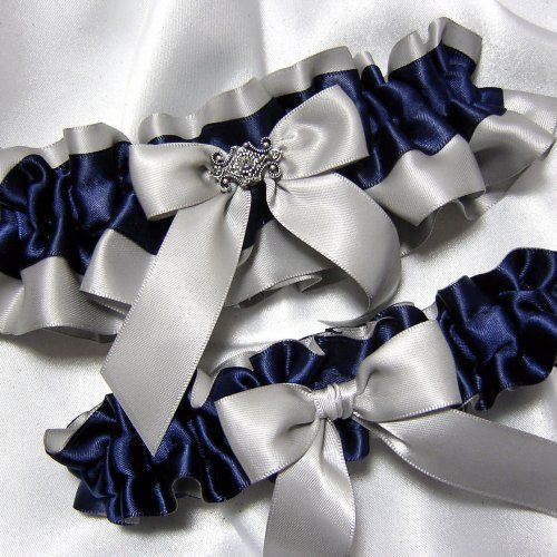 Gray with Navy Blue Satin Wedding Garter With Bling