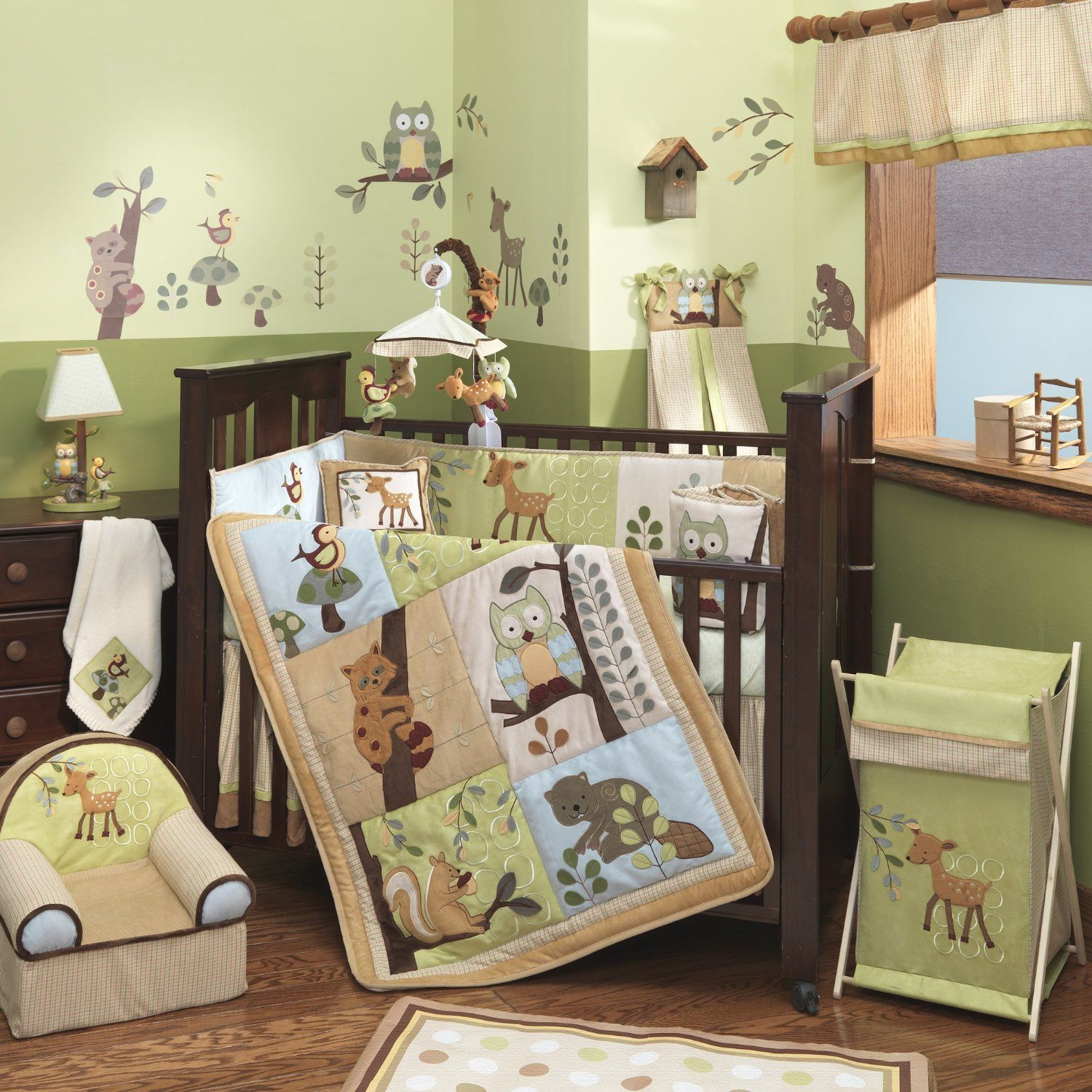 Baby cribs green - Amazon Com Lambs Ivy Enchanted Forest 6 Pc Baby Crib Bedding Set