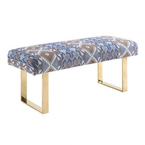 Prime Tribal Print Gold Metal Legs Bench Footstools Ottomans Ibusinesslaw Wood Chair Design Ideas Ibusinesslaworg