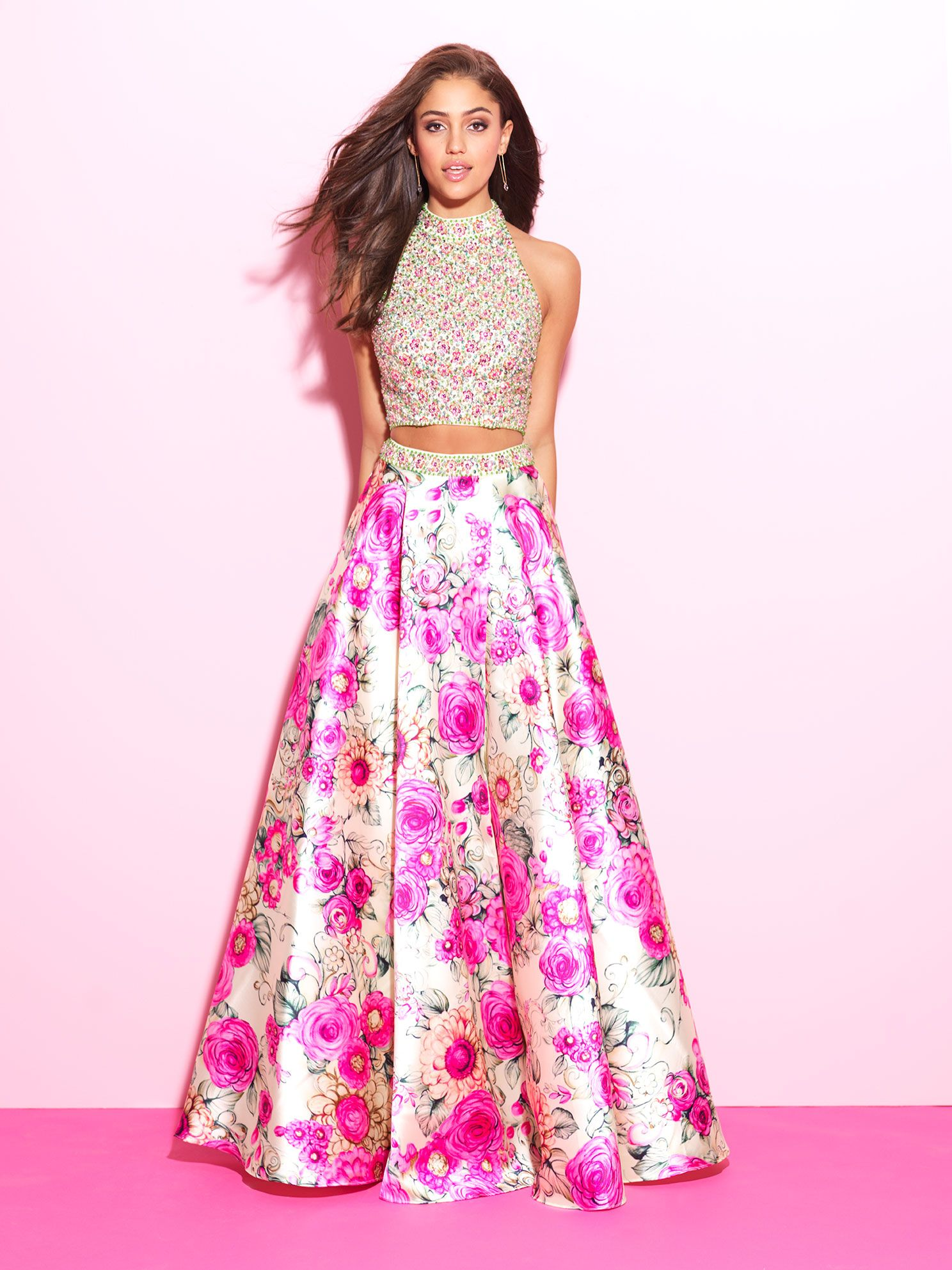 Stunning printed two-piece. Be a show stopper in this beautiful gown ...