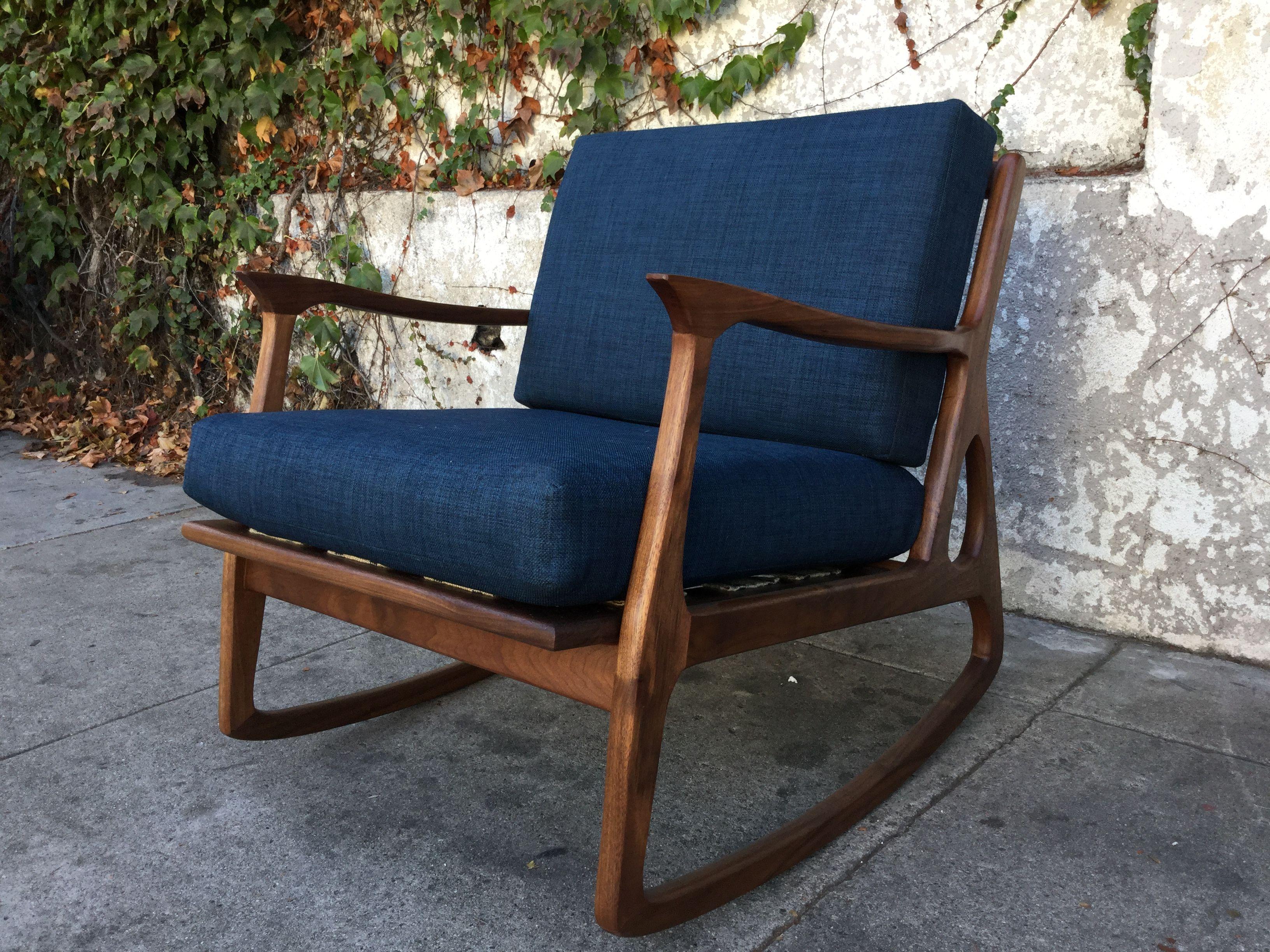 "Mid Century ""Elliot"" Navy Blue Rocking Chair"