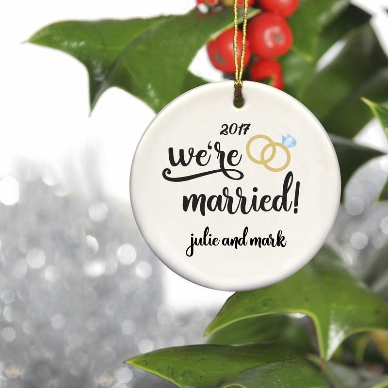 Personalized Couples Ceramic Christmas Ornaments