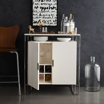 Baron Deco Bar Cabinet White Lacquer Westelm Raise The Lofted On A