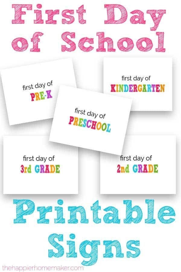 First Day of School Printable Signs is part of School printables, Free school printables, School signs, First day of school, Kindergarten first day, Preschool first day - Celebrate your child's first day of school with these free printable First Day of School Signs in every grade from preschool to 12th grade