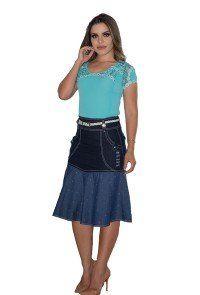 abd847d3a2f Compre Saia Raje Jeans Detalhe Destroyer Moda Evangélica. Entrega rápida e  segura. Aproveite e compre agora!