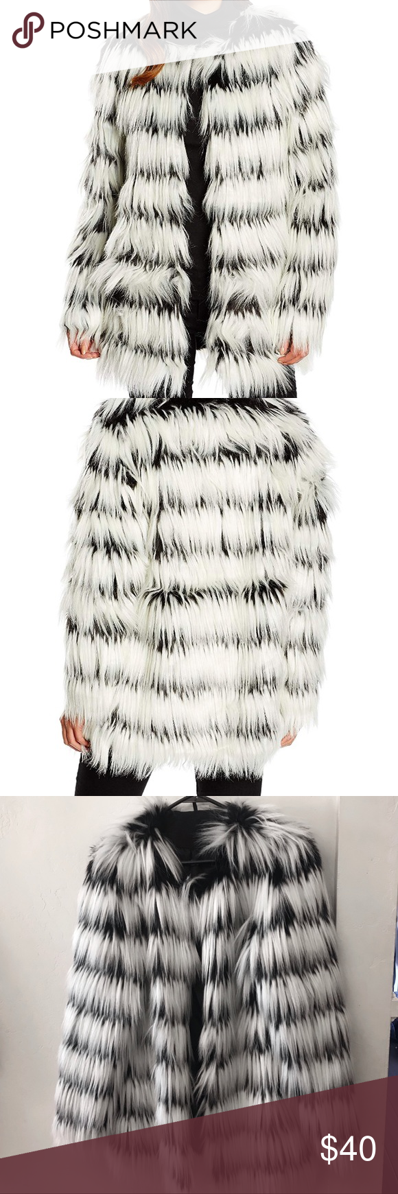 Photo of Noisy May black and white faux fur coat Add a touch of decadent glamour to your …