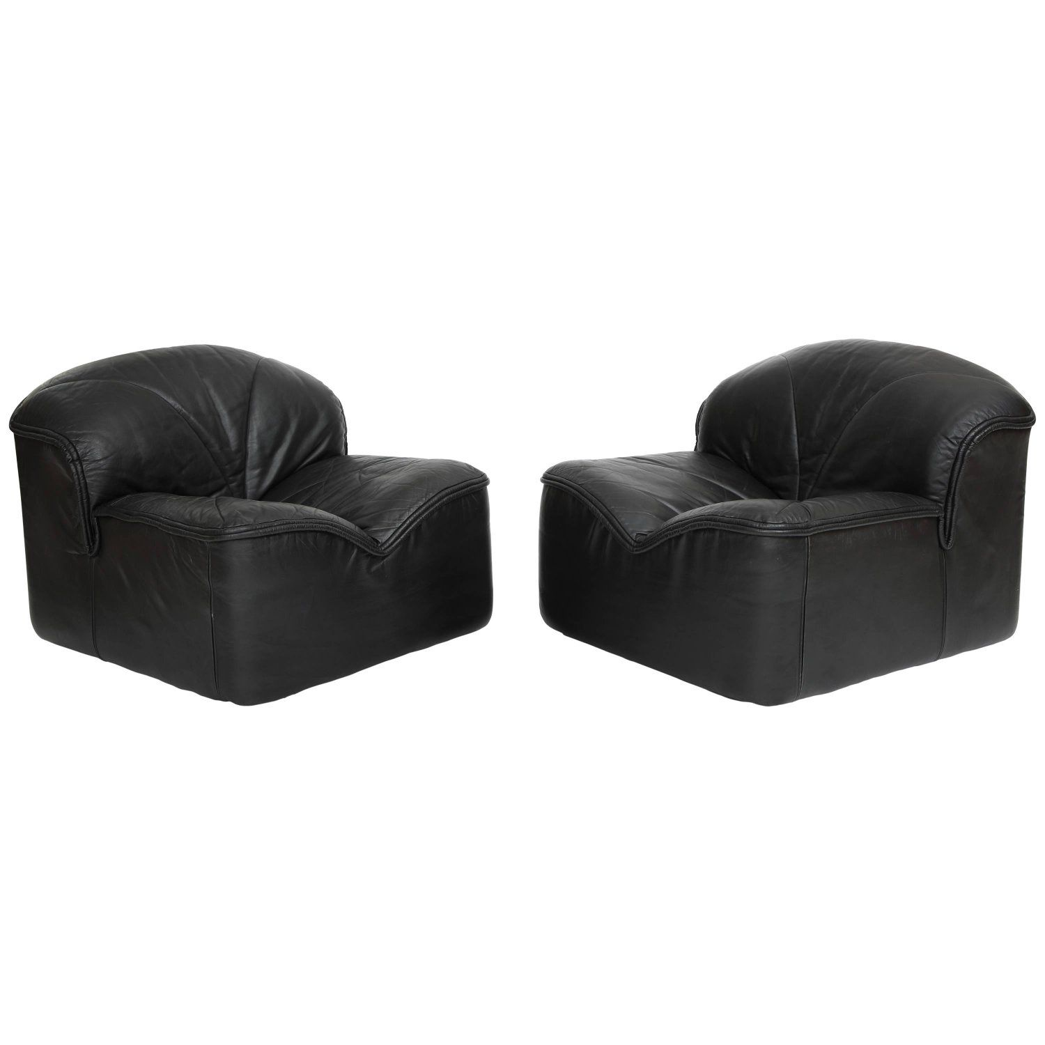Astonishing I4 Mariani Pace Postmodern Black Leather Pair Of Lounge Pabps2019 Chair Design Images Pabps2019Com
