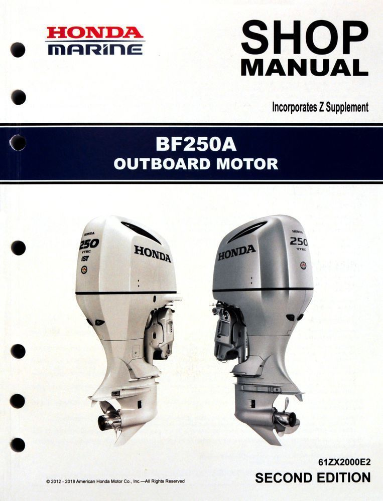 Honda Bf250 Marine Outboard Service Shop Repair Manual Repair Manuals Outboard Honda