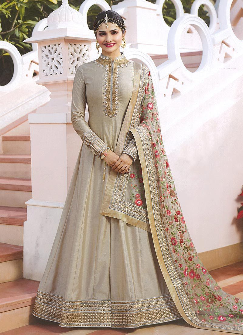 ec9a9d733f Prachi Desai Grey embroidered anarkali suit 7174 in 2019 | Eid ...