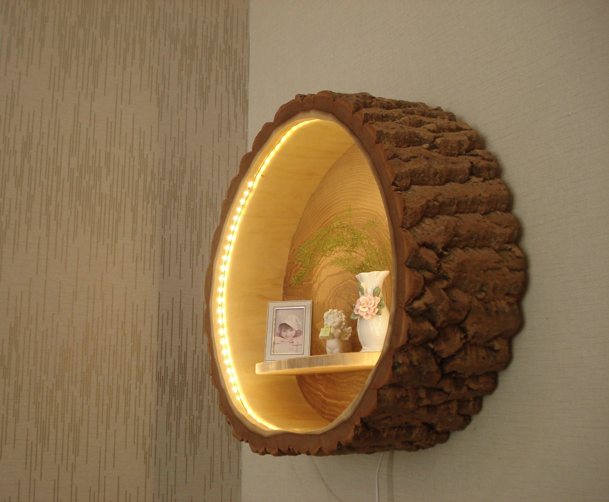 wandleuchte holzlampe aus einem baumstamm von holzbaubohse. Black Bedroom Furniture Sets. Home Design Ideas