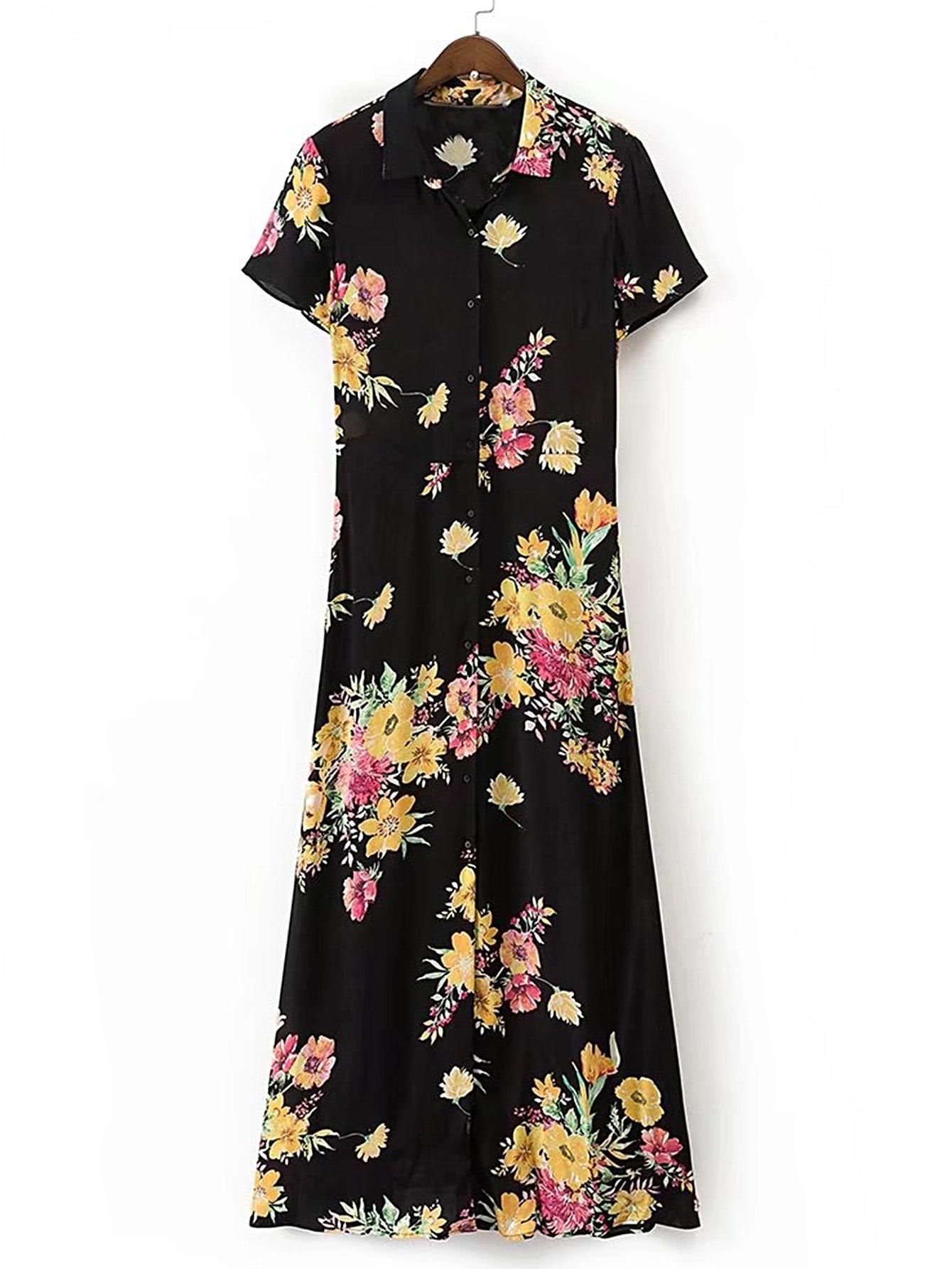 Shein shein floral print maxi shirt dress adorewe shein