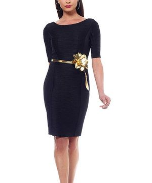 For business or pleasure, a beautiful dress has never done a woman wrong. This glam example boasts horizontal ruching for figure-framing style and a blooming metallic belt for shimmering sophistication. It also features a coated hem to keep the lining in place and Body Architecture to shape and smooth from top to bottom.