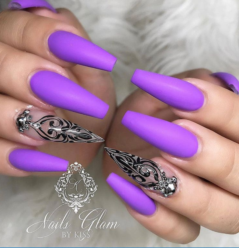 60 Gorgeous Acrylic Purple Nails Art Design Ideas Fashionsum Blog Purple Nail Art Designs Purple Nails Purple Nail Designs
