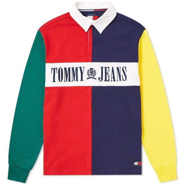 Tommy Jeans 90s Colour Block Rugby Shirt ($250) ❤ liked on Polyvore  featuring tops