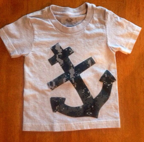 Anchor t-shirt made with navy camo fabric. on Etsy, $11.00