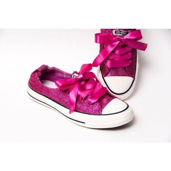 Glitter Raspberry Pink Sparkly Canvas Shoreline Converse