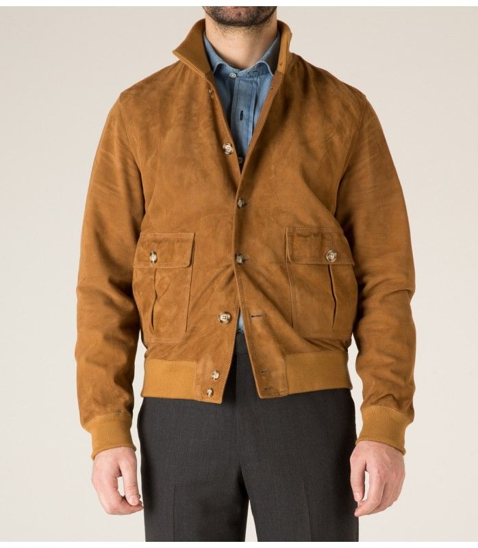 for Drake's Light Brown Suede Bomber Jacket