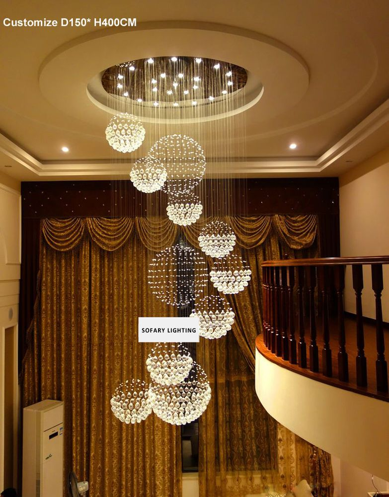 Details about LED Crystal RainDrop Spiral Pendant Lamp Ceiling Light Chandelier Stair Villa