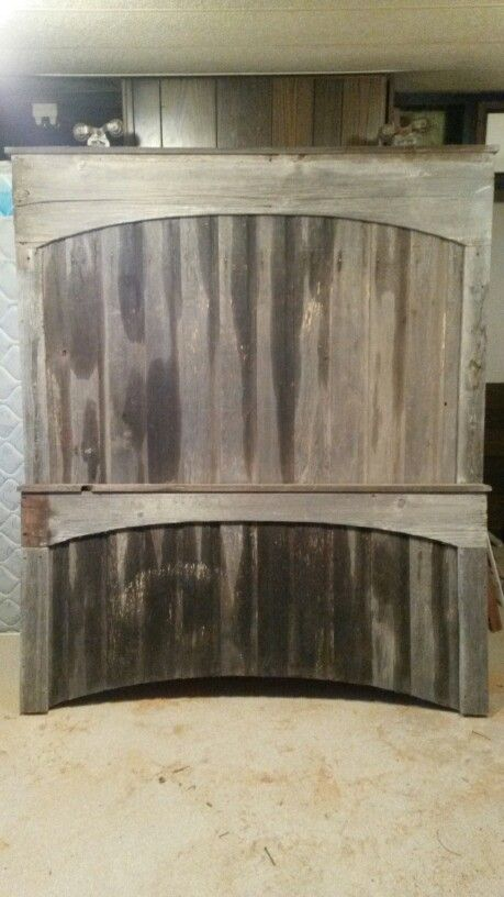 Rustic Queen Size Headboard And Footboard Made Out Of An Old Barn