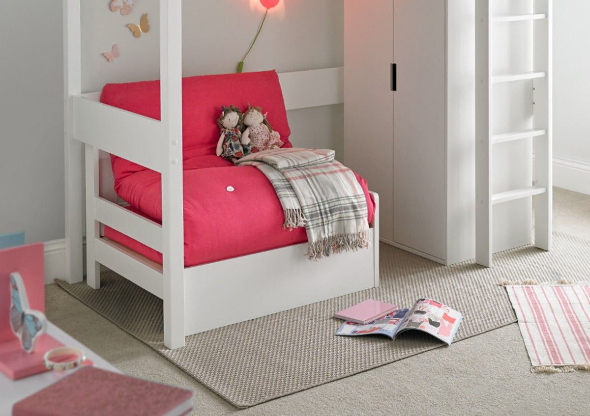 Modena White Chair Bed With Pink Futon Mattress