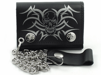 9b32727a5b61e Tribal Skull Leather Chain Wallet   Wallets and Leather Chain ...