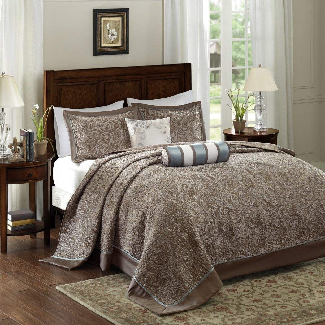 Dandh 5 Piece 120 X 118 Oversized Blue Brown King Bedspread To The Floor Set Extra Long Jacquard Paisley Bedding Xtr In 2020 Bedspread Set Bed Spreads Paisley Bedding