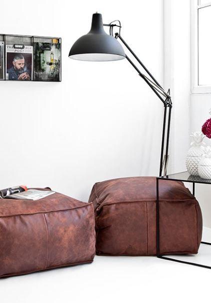 »Modern Loft« | Lederpouf Porthos, Stehleuchte Office U0026 Beistelltisch Cube.  »