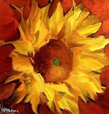 """Bring on the Heat Sunflower"" - by Nancy Medina. I like the orange red background next to the bright yellow of the sunflower"