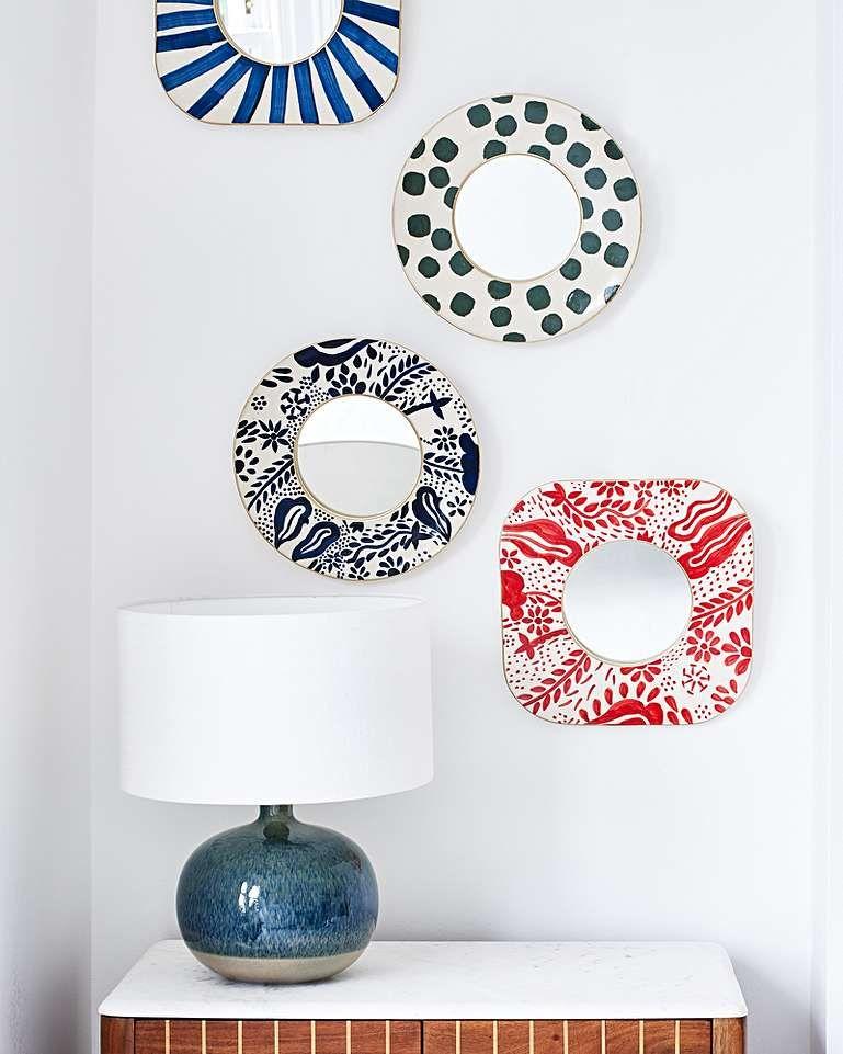 Blue Stripe Ceramic Square Wall Mirror Medium