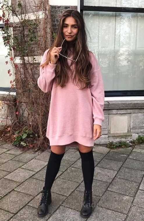 ff21c620532b9 Günlük Kombinler Pembe Kısa Sade Salaş Elbise | Kışlık Kazak Elbise ...