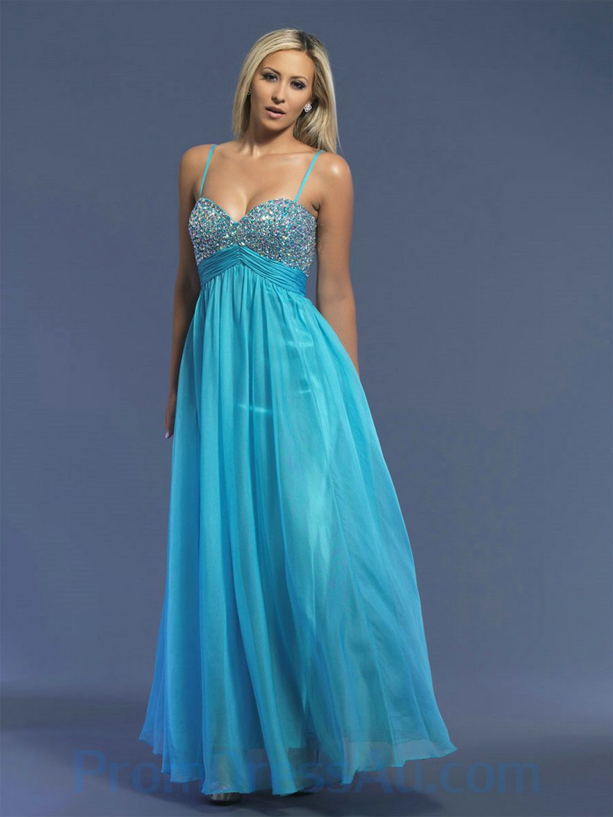 long prom dresses | ... -Made Empire Beaded Spaghetti Straps Chiffon ...