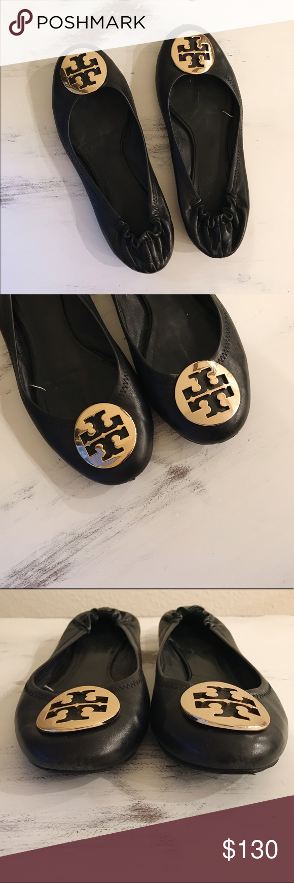 9f07b89f575 Tory Burch REVA ballet flats The iconic Tory Burch Reva ballet flat. Black  leather with gold logo. Minor scuffs and wear but still in great condition.