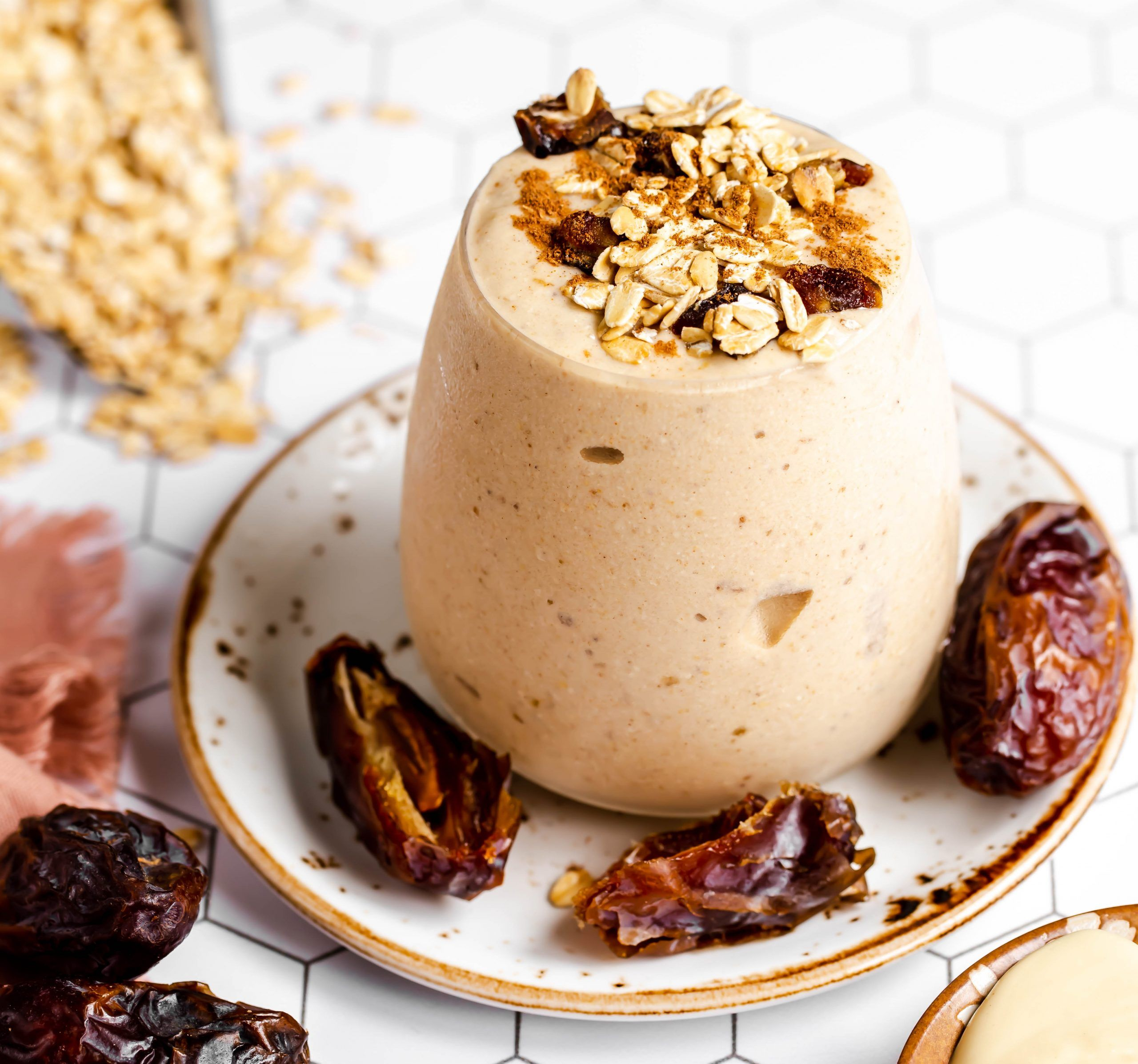 Vegan Oatmeal Cookie Smoothie With Cashew Butter And Dates Plant And Soul Recipe In 2020 Oatmeal Cookie Smoothie Vegan Breakfast Smoothie Vegan Oatmeal Cookies