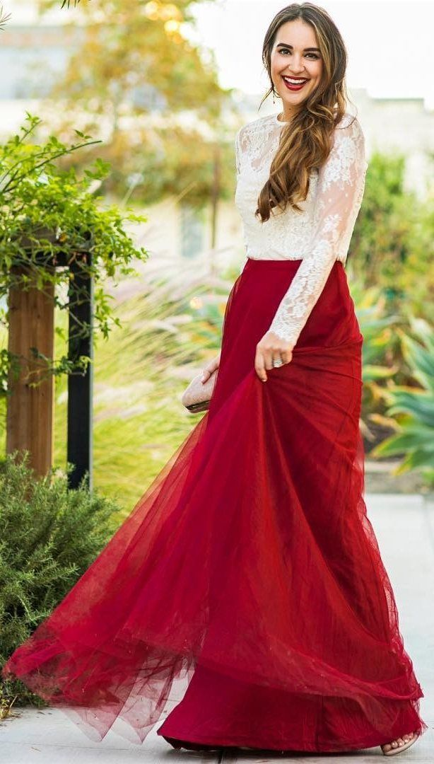 734711fcc8 #winter #fashion / White Lace Top + Red Tulle Maxi Skirt