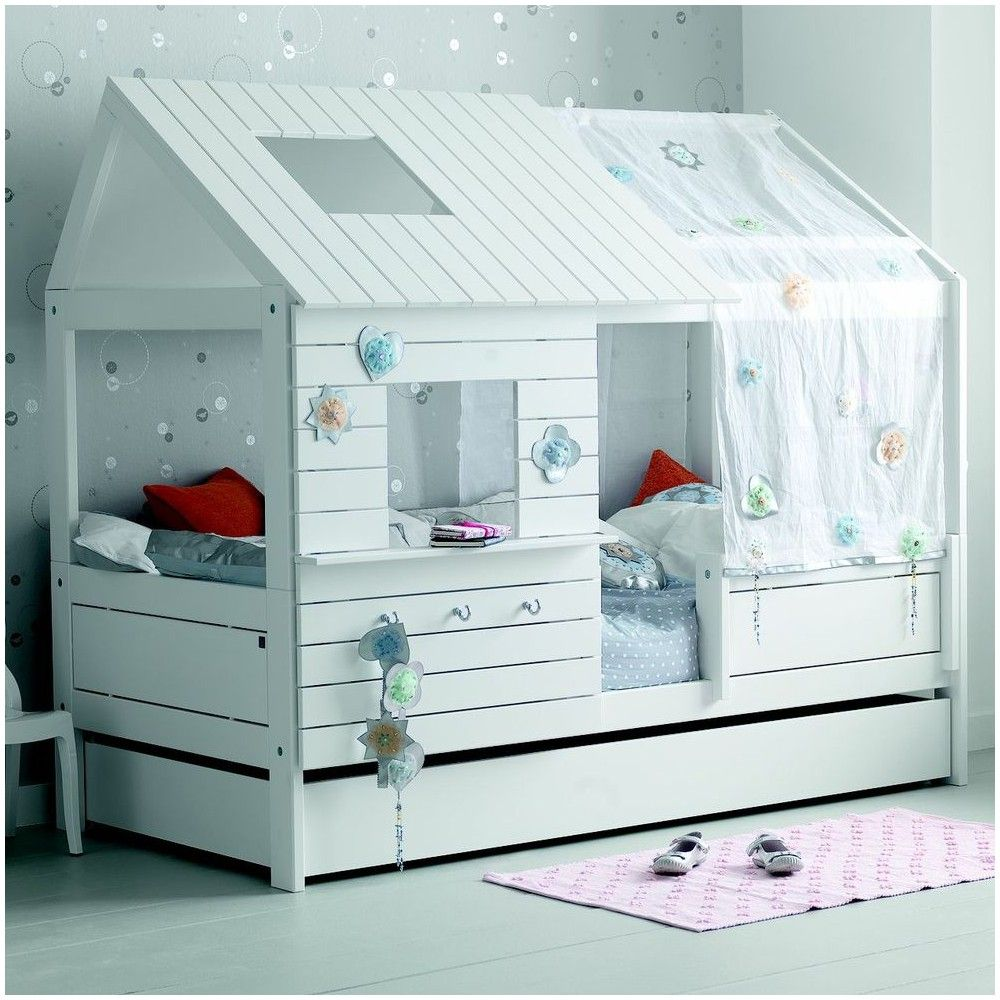 lit cabane fille 90x200 blanc deco chambre enfant. Black Bedroom Furniture Sets. Home Design Ideas
