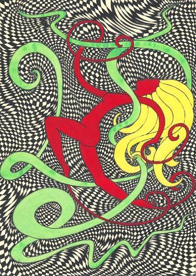 Dynamisch (1998) Tempera auf Zeichenpapier 21 x 29,7 cm