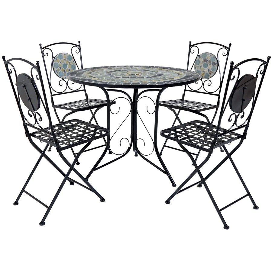 Charles Bentley 4 Seater Mosaic Bistro Set 5 Piece Dining Set