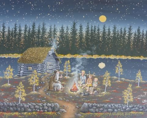 Grandfather's Ghost Story by Aimo Katajainen, size: 33cmX41cm. Painting matierial: Acrylic on canvas
