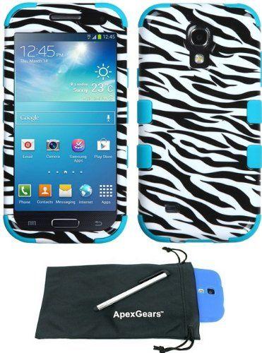 For Samsung Galaxy S4 Mini Animal Print Design Tuff Hybrid Phone Cover Case with Stylus Pen and ApexGears (TM) Phone Bag (Black White Zebra w/ Teal Skin) ApexGears http://www.amazon.com/dp/B00II5IV0K/ref=cm_sw_r_pi_dp_-CALub17ABABX