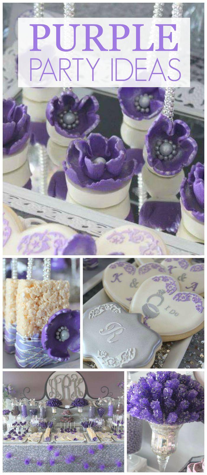 Purple Gray Glam Wedding Purple Gray Dessert Table Postres Para Fiestas Decoracion De Fiesta Planificacion De Fiesta