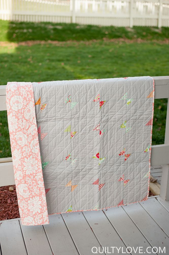 Today I'm sharing this mini bow ties quilt I started many months back. I made this one at a retreat over the summer and it went together super quickly. It's simply a mini charm pack of Scrumptious by Bonnie and Camille and 8in grey squares. Sew the charm to two opposite corners of each…